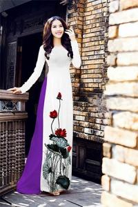 Vải áo dài in lụa 3D mẫu VAD-06