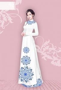 Vải áo dài in lụa 3D mẫu VAD-07