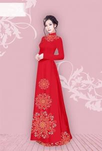 Vải áo dài in lụa 3D mẫu VAD-08