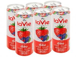 6 lon nước uống vị trái cây có ga La Vie Sparkling hương dâu việt quất 330ml