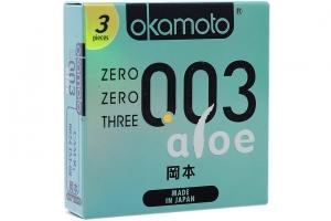 Bao cao su Okamoto 003 Aloe 52mm (hộp 3 cái)