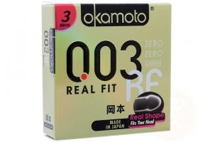 Bao cao su Okamoto 003 Real Fit 52mm (hộp 3 cái)