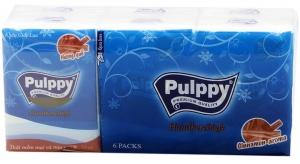 Khăn giấy bỏ túi Pulppy hương Quế gói 10 tờ 3 lớp (6 gói)