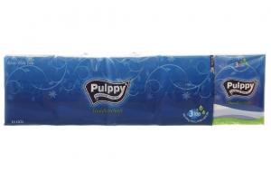 Khăn giấy bỏ túi Pulppy xanh lốc 10 tờ 3 lớp (10 gói)
