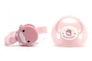 Ty ngậm có dây giữ Kuku KU5335 cho bé trên 6 tháng hồng