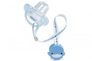 Ty ngậm có dây giữ Kuku KU5335 cho bé trên 6 tháng xanh