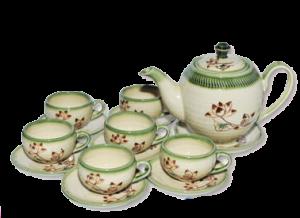 Bộ ấm trà vẽ cọ không khay Bát Tràng (15 món)