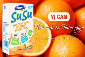Sữa chua uống tiệt trùng Susu hương cam 110ml (lốc 4 hộp)