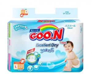 Tã dán Goon Renew Slim size L - 32 miếng (9 - 14 kg)