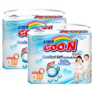 Bộ 2 tã quần Goon Renew Slim size L - 26 miếng