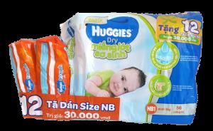 Miếng lót Huggies Dry NB1 56 miếng (bé dưới 5kg) + tặng 12 miếng tã dán NB