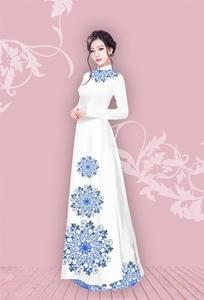 Vải áo dài in lụa 3D mẫu VAD-16