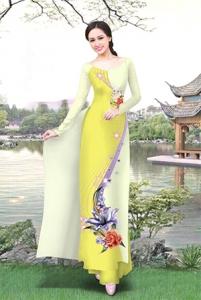 Vải áo dài in lụa 3D mẫu VAD-13