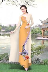 Vải áo dài in lụa 3D mẫu VAD-18