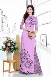 Vải áo dài in lụa 3D mẫu VAD-19