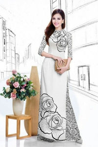 Vải áo dài in lụa 3D mẫu VAD-20