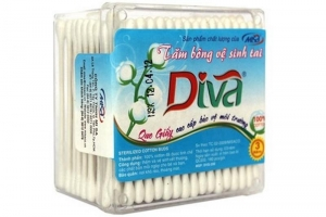 Tăm bông VST que giấy DIVA (hộp 200 que)