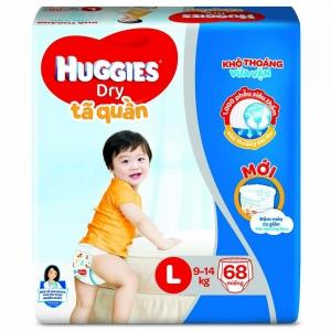 Bỉm tã quần Huggies Dry size L 68 miếng (9-14kg)