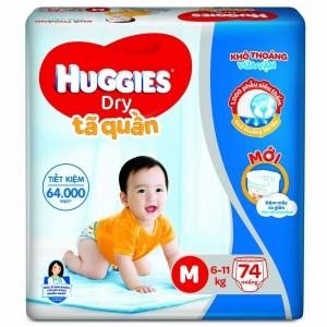 Bỉm tã quần Huggies Dry size M 74 miếng (6-11kg)