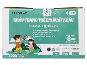 Khẩu trang trẻ em Ecommed 3 lớp hộp 50 cái - giao màu ngẫu nhiên
