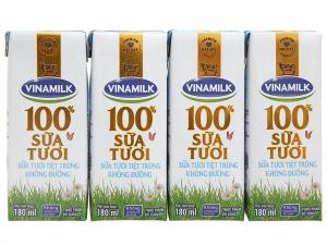 Sữa tươi tiệt trùng Vinamilk không đường 180ml (lốc 4 hộp)