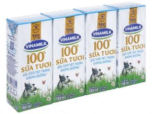 Sữa tươi tiệt trùng Vinamilk có đường hộp 180ml (lốc 4 hộp)