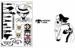 Combo: Bộ 2 decal dán tường One Piece Luffy vs Ace