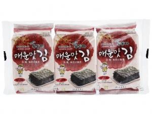 Lốc 3 gói rong biển ăn liền Ock Dong Ja vị cay nồng 4.5g