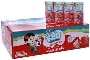 Sữa chua uống tiệt trùng Kun vị Dâu hộp 180ml (Thùng 24 hộp)