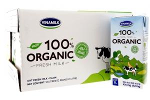 Sữa tươi tiệt trùng Vinamilk 100% Organic hộp 1 lít ( thùng 12 hộp)