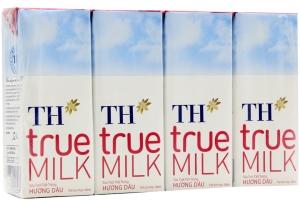 Sữa tiệt trùng TH True Milk hương Dâu 180ml (lốc 4 hộp)