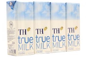 Sữa tiệt trùng TH True Milk ít đường 180ml (lốc 4 hộp)