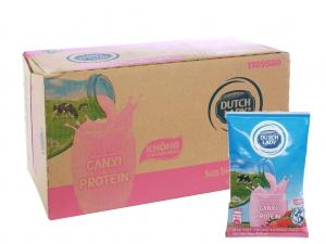 Thùng 48 bịch sữa tiệt trùng hương dâu Dutch Lady Canxi & Protein 220ml