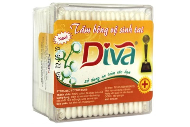 Tăm bông VST que nhựa DIVA (hộp 200 que)